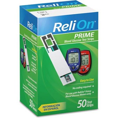 Relion Prime Blood Glucose Test Strips 50 Count